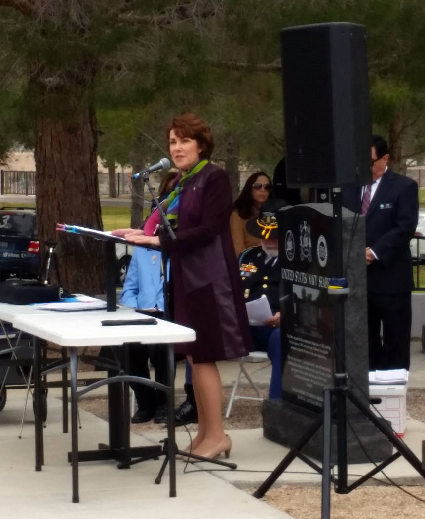 Celia Shortt Goodyear/Boulder City Review U.S. Rep. Jacky Rosen speaks at the dedication ceremony for the Korean War memorial at the Southern Nevada Veterans Memorial Cemetery on Saturday.