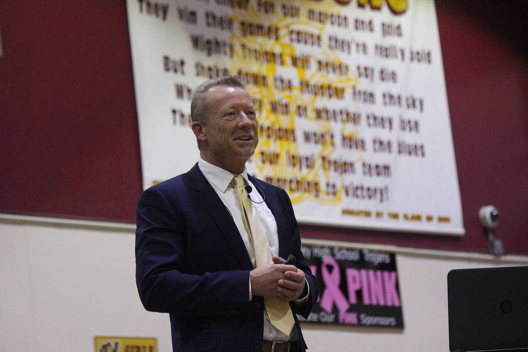 Jeffrey Meehan/Pahrump Valley Times Thomas Husted, CEO of Valley Electric Association, speaks at the Pahrump Valley High School during the cooperative's annual meeting at the end of April. Husted ...