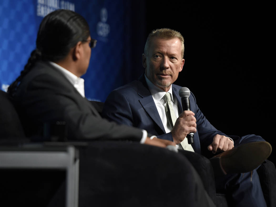 David Becker/Special to the Pahrump Valley Times At the National Clean Energy Summit that took place in Las Vegas last year, Valley Electric Association CEO Tom Husted (right) and Chris Deschene ( ...