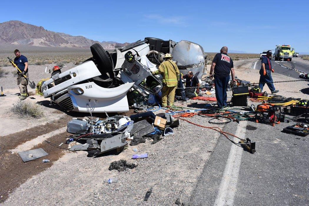 Special to the Pahrump Valley Times Pahrump Fire Chief Lewis who retained command of the accident scene said Southern Inyo County Fire Protection crews also responded to provide additional assista ...