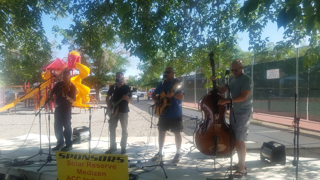 David Jacobs/Pahrump Valley Times The Out of the Desert band performs at Wild West Extravaganza and Bluegrass Festival on May 4 in Petrack Park. The special event spanned three days.