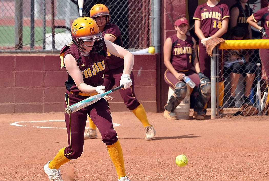 Horace Langford Jr./Pahrump Valley Times Evandy Murphy lays down a bunt during Pahrump Valley's 3-1 win over Chaparral in the Class 3A Southern Region softball tournament on Tuesday in Pahrump.