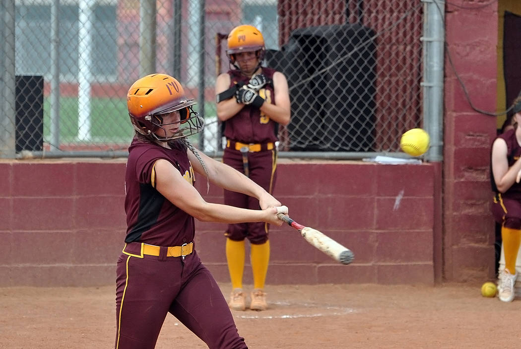 Horace Langford Jr./Pahrump Valley Times Pahrump Valley outfielder Kathy Niles connects for a hit during the Trojans' 3-1 win over Chaparral on Tuesday in Pahrump.