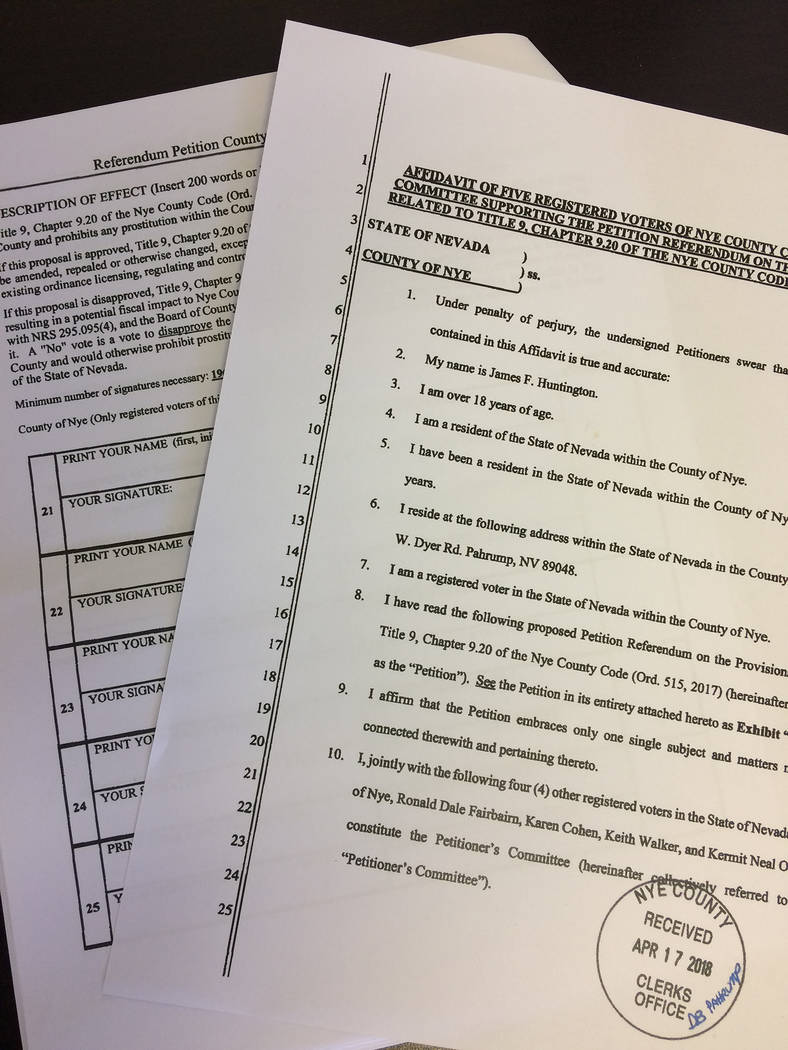 Robin Hebrock/Pahrump Valley Times The petition shown was filed by five Nye County citizens on April 17, including James Huntington, Rob Fairbairn, Karen Cohen, Keith Walker and Kermit Neal Owen. ...