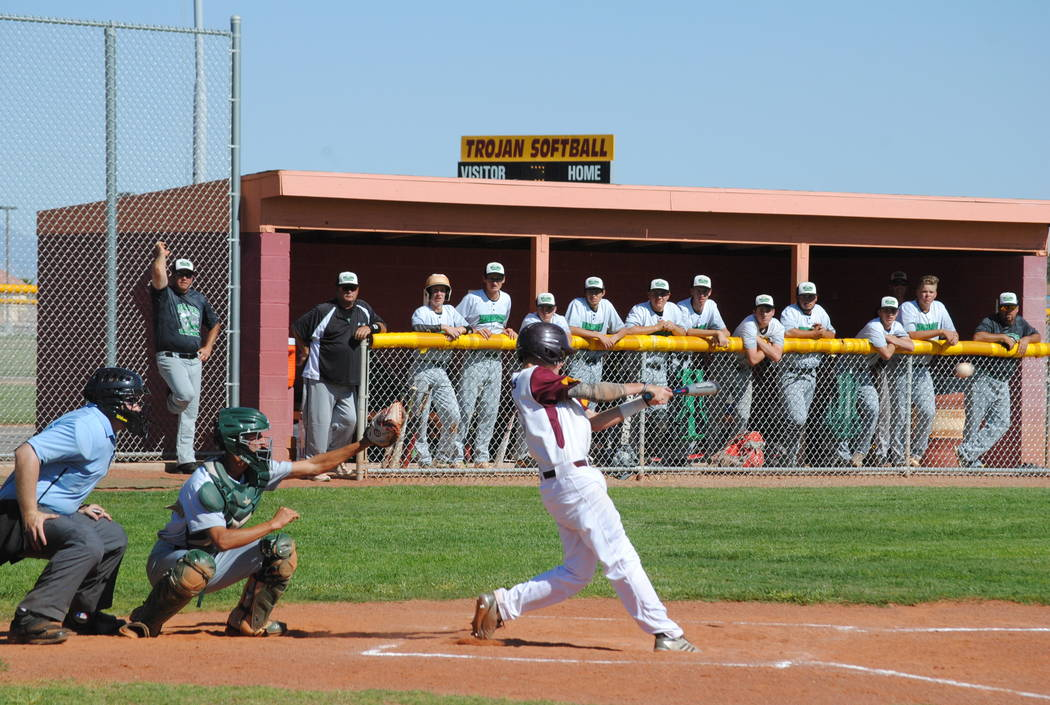 Charlotte Uyeno/Pahrump Valley Times Chase McDaniel's RBI double capped a five-run rally in the bottom of the fifth inning that carried Pahrump Valley to a 6-5 playoff victory over Virgin Valley o ...