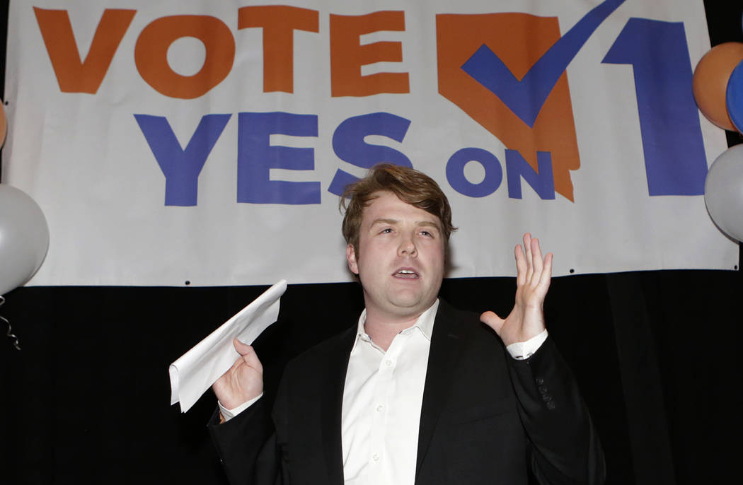 Bizuayehu Tesfaye/Las Vegas Review-Journal Joe Duffy, Yes on 1 campaign manager, speaks to the pro-background checks before a gun sale or transfer groups during a watch party at Cucina Restaurant ...