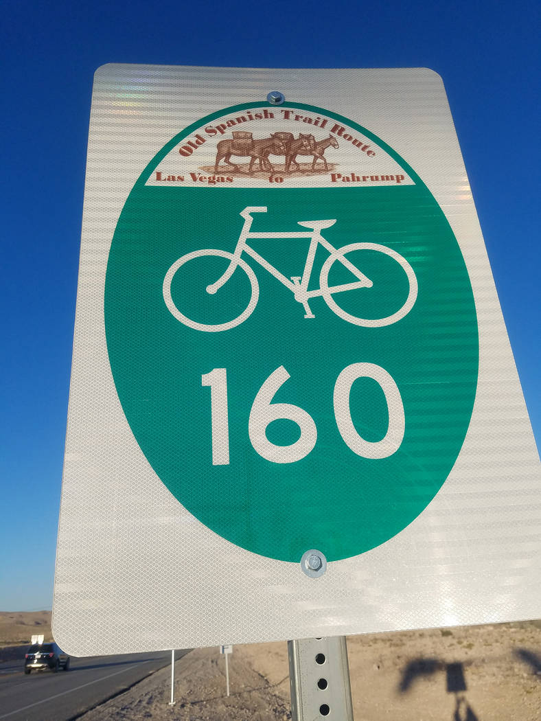 David Jacobs/Pahrump Valley Times A bike lane sign is seen along Nevada Highway 160. Cyclists are commonly are seen along the highway connecting Las Vegas and Pahrump.