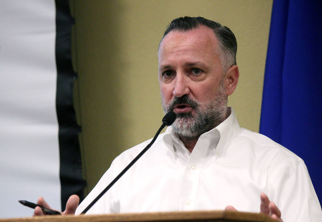 Jeffrey Meehan/Pahrump Valley Times Nevada Assemblyman Chris Brooks, D-Las Vegas, speaks at Valley Electric Association's Conference Center about future and past legislation that effects Nevada's ...