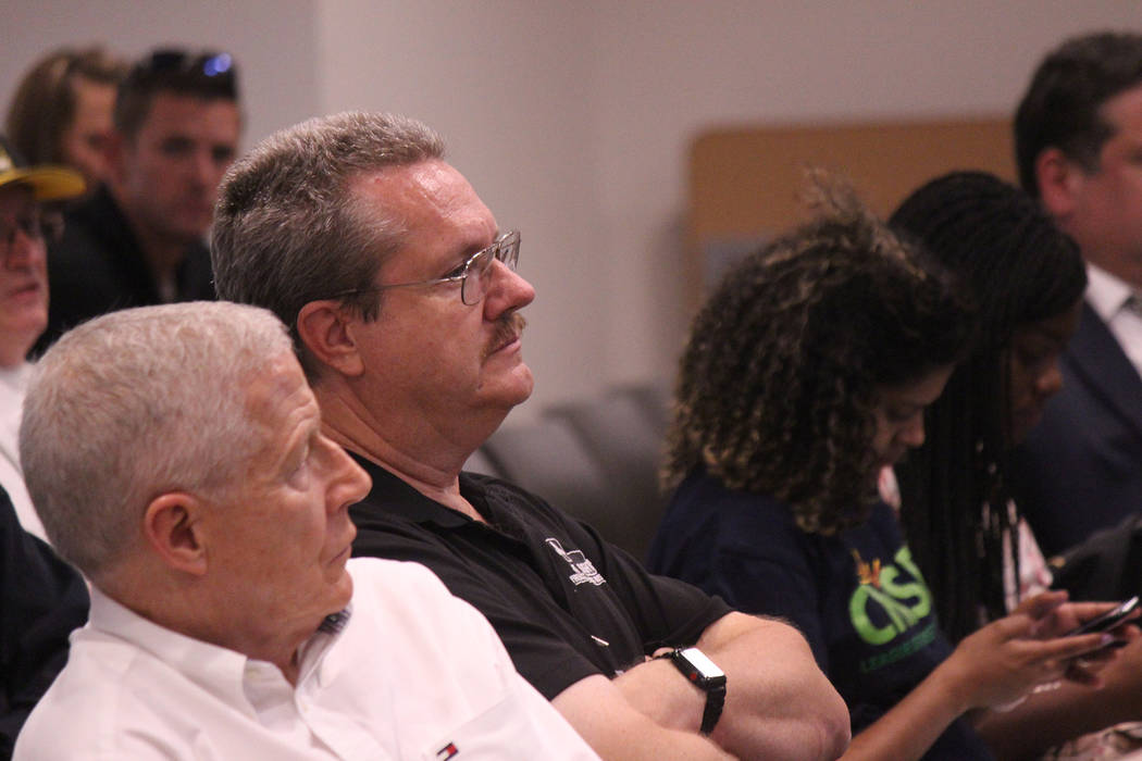 Jeffrey Meehan/Pahrump Valley Times Business leaders and area residents learn about the future of clean energy in Nevada during a presentation at Valley Electric Association on May 8, 2018. Keynot ...