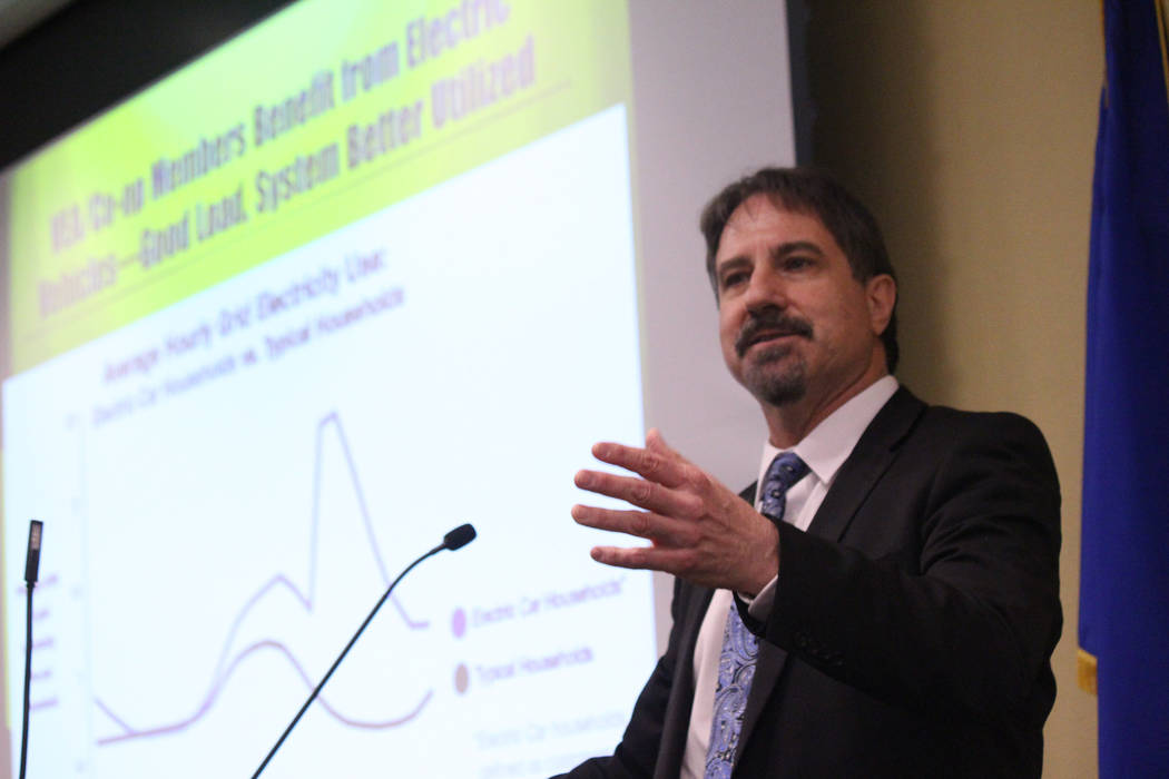 Jeffrey Meehan/Pahrump Valley Times Tom Polikalas of Southwest Energy Efficiency Project speaks at a forum focused on clean energy at Valley Electric Association's Conference Center at 800 E. High ...