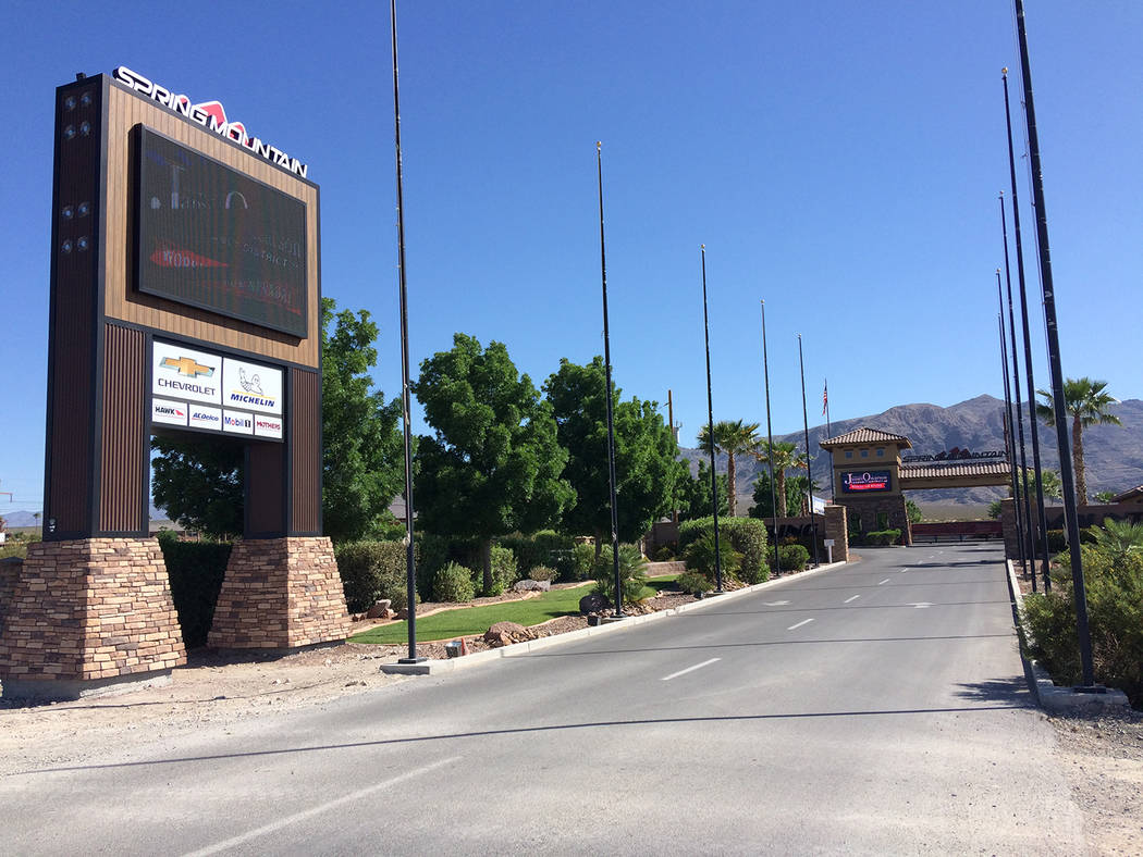 Robin Hebrock/Pahrump Valley Times The entrance to Spring Mountain Motor Resort and Country Club, as shown in this photo, taken May 10. The resort plans to make its private racetrack the longest i ...