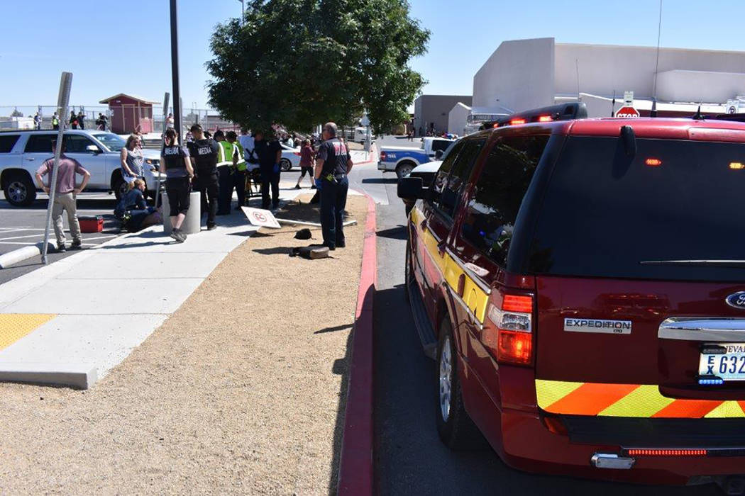 Special to the Pahrump Valley Times Two Pahrump Valley High School students were transported to Desert View Hospital after being struck by a vehicle in the parking lot of the campus on Thursday Ap ...