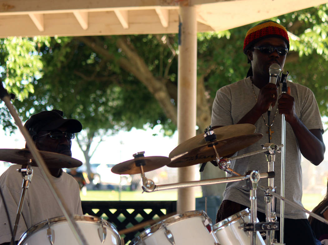 "Jeffrey Meehan/Pahrump Valley Times Performers at the ""One Love"" music festival at Ian Deutch Memorial Park sing beats from the islands in the Caribbean on May 12, 2018. Roughly two dozen attendee ..."
