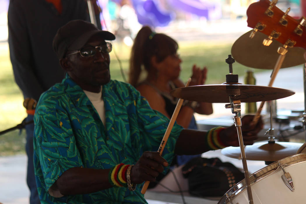 "Jeffrey Meehan/Pahrump Valley Times A drummer keeps the beat going during the ""One Love"" music festival at Ian Deutch Memorial Park during Mother's Day weekend. The tempo was mostly reggae-style m ..."