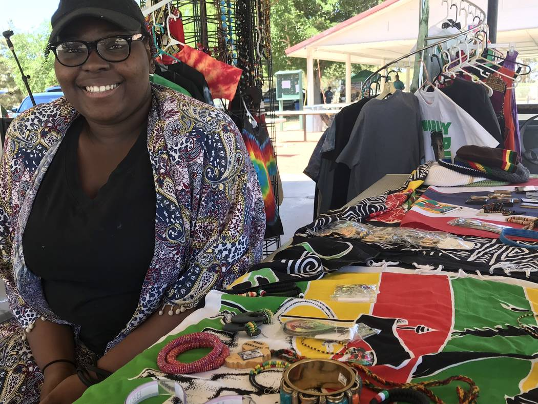 """Jeffrey Meehan/Pahrump Valley Times Jewelry, clothing and other items were available at the """"One Love"""" music festival that brought reggae and other styles of music to Ian Deutch Memorial Park on M ..."""