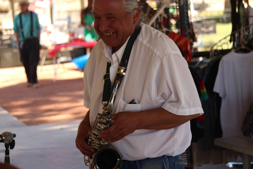 "Jeffrey Meehan/Pahrump Valley Times A musician plays jazz-style music at Ian Deutch Memorial Park on May 12, 2018. The alto sax player was one of many performers at the ""One Love"" music festival d ..."
