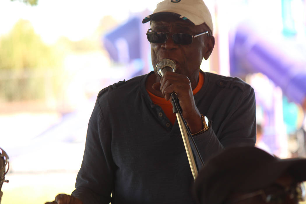 "Jeffrey Meehan/Pahrump Valley Times Stan Rankin T, a well-known figure in reggae music in Southern Nevada, performs at his ""One Love"" music festival during Mother's Day weekend on May 12, 2018 at ..."