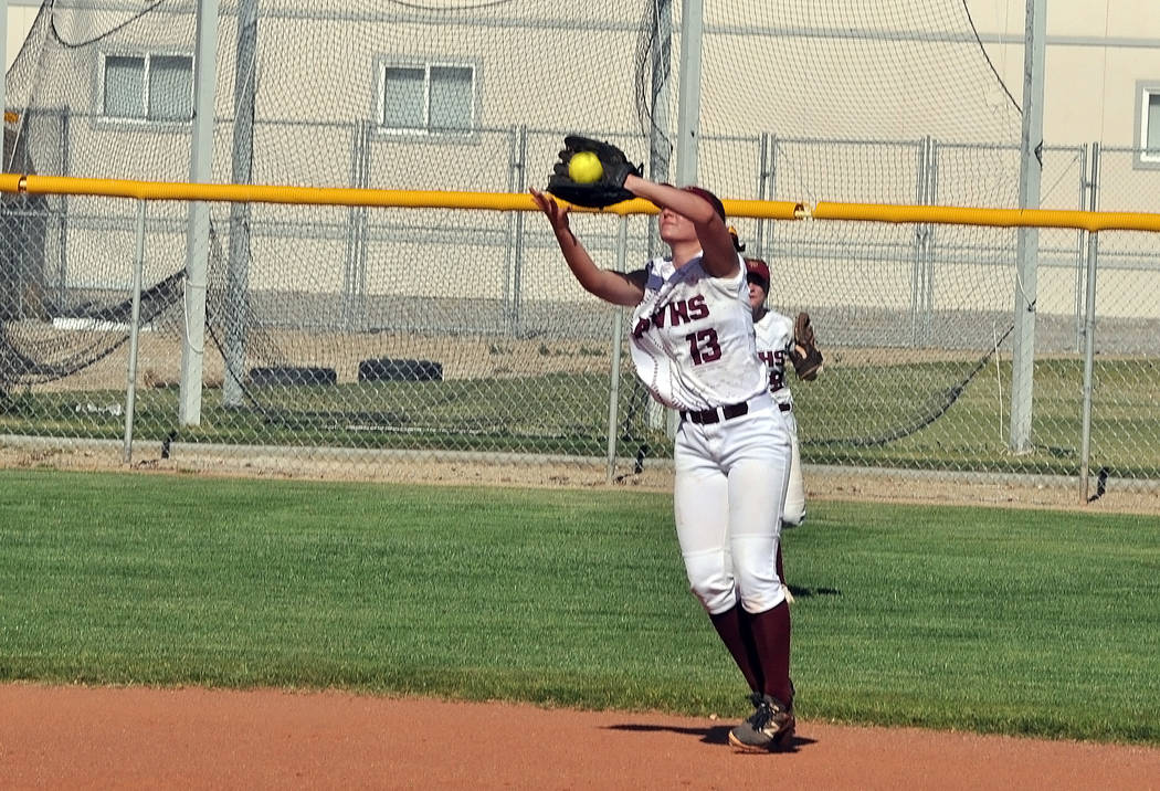 Horace Langford Jr./Pahrump Valley Times Pahrump Valley shortstop Jackie Stobbe makes a play on an infield fly during the Trojans' Class 3A Southern Regional Tournament game against Boulder City o ...