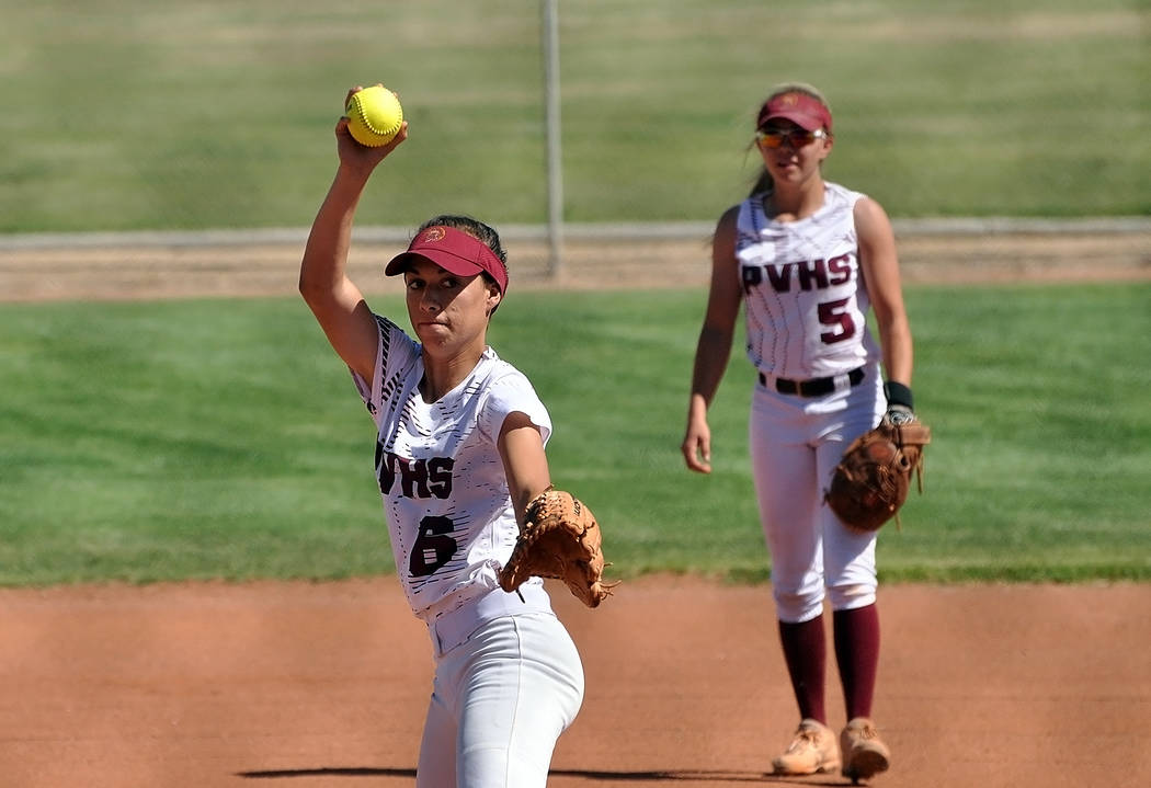 Horace Langford Jr./Pahrump Valley Times Pahrump Valley pitcher Amaya Mendoza winds up against Boulder City as second baseman Skyler Lauver watches during the Class 3A Southern Regional Tournament ...