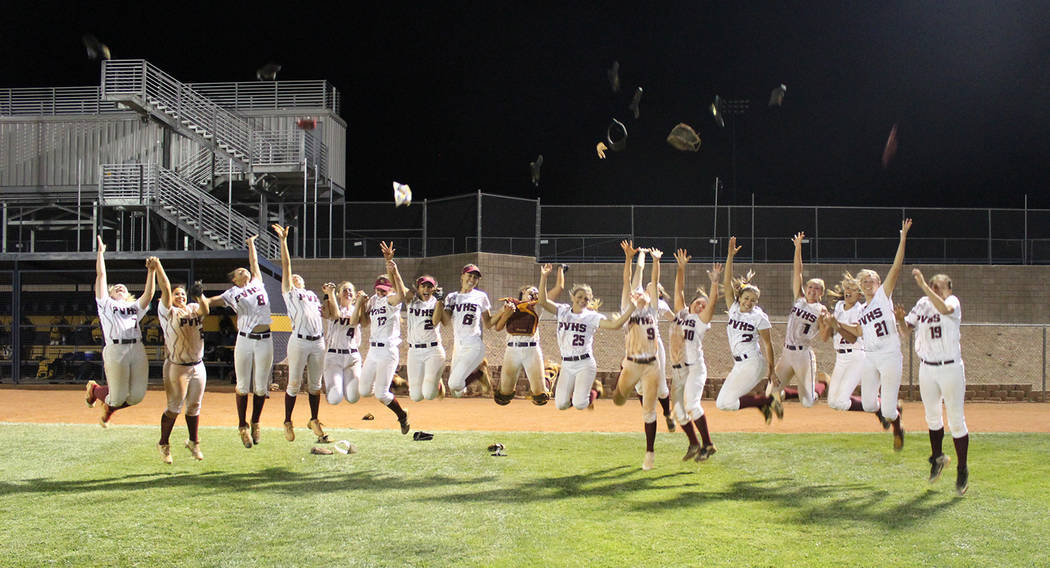 Cassondra Lauver/Special to the Pahrump Valley Times The Pahrump Valley softball team celebrates the 15-6 win over Moapa Valley last Friday night in Boulder City that guaranteed the Trojans a retu ...