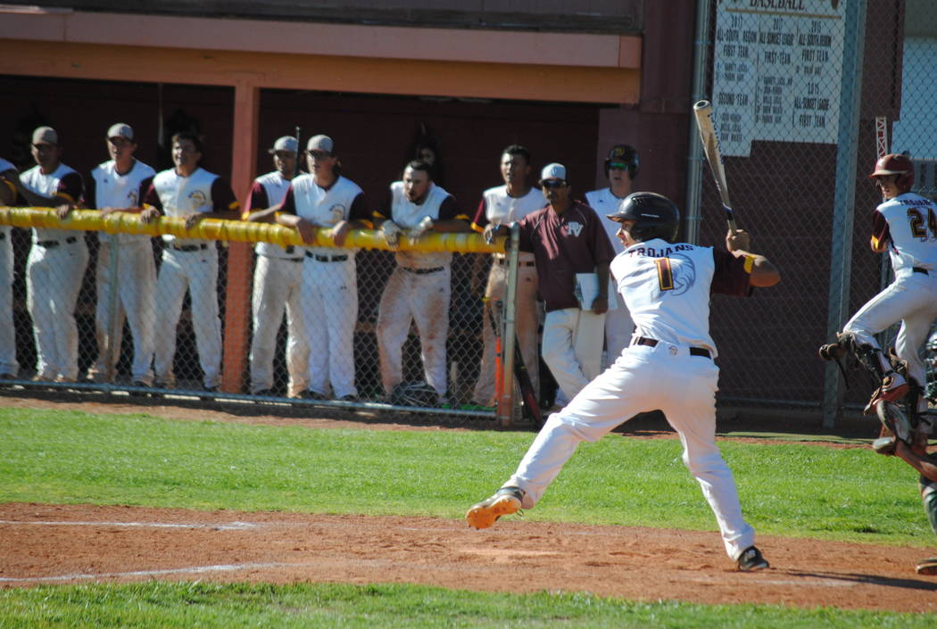 Charlotte Uyeno/Pahrump Valley Times Senior Garrett Lucas drove in a run with a first-inning single to give Pahrump Valley an early lead on Boulder City in the Class 3A Southern Region championshi ...