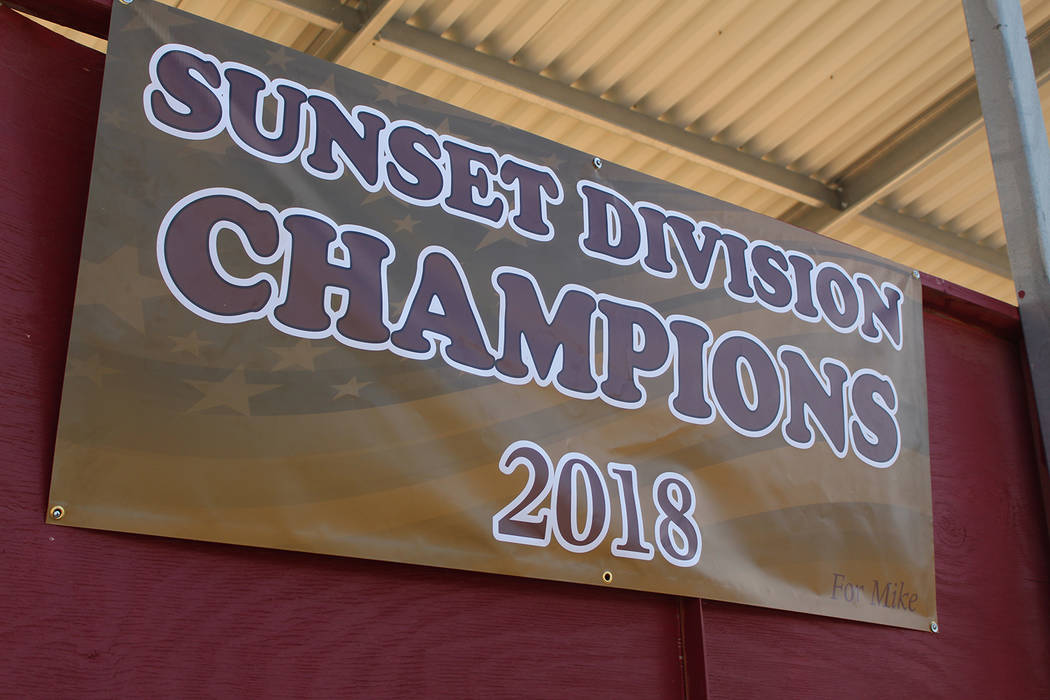Tom Rysinski/Pahrump Valley Times The 2018 Class 3A Sunset League banner was already hanging Monday from the back of the bleachers at the baseball field at Pahrump Valley High School.