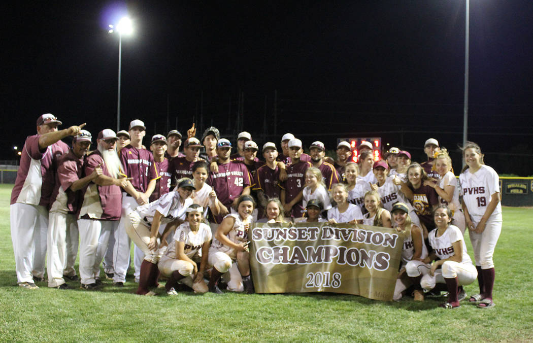 Cassondra Lauver/Special to the Pahrump Valley Times The Pahrump Valley baseball and softball teams celebrate each winning the regular-season Sunset League title and qualifying for the Class 3A st ...