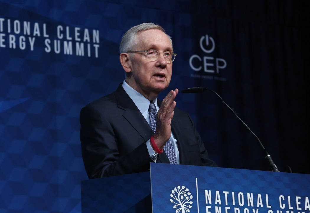 Bizuayehu Tesfaye/Las Vegas Review-Journal Former U.S. Sen. Harry Reid, D-Nevada, speaks during the National Clean Energy Summit Friday, Oct. 13, 2017, in Las Vegas. Reid, 78, a Democrat who is t ...