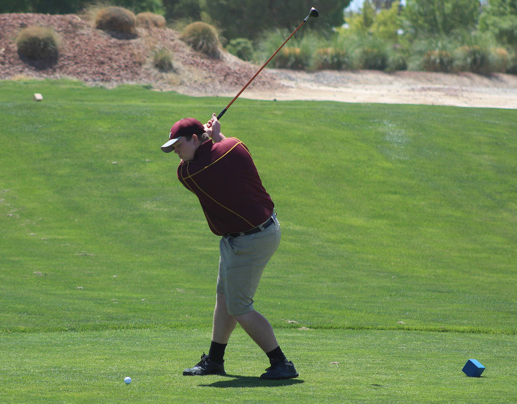 Tom Rysinski/Pahrump Valley Times Pahrump Valley junior Trevyn Wombaker on the first tee Tuesday at Mountain Falls at the start of the second round of the Class 3A state championship.