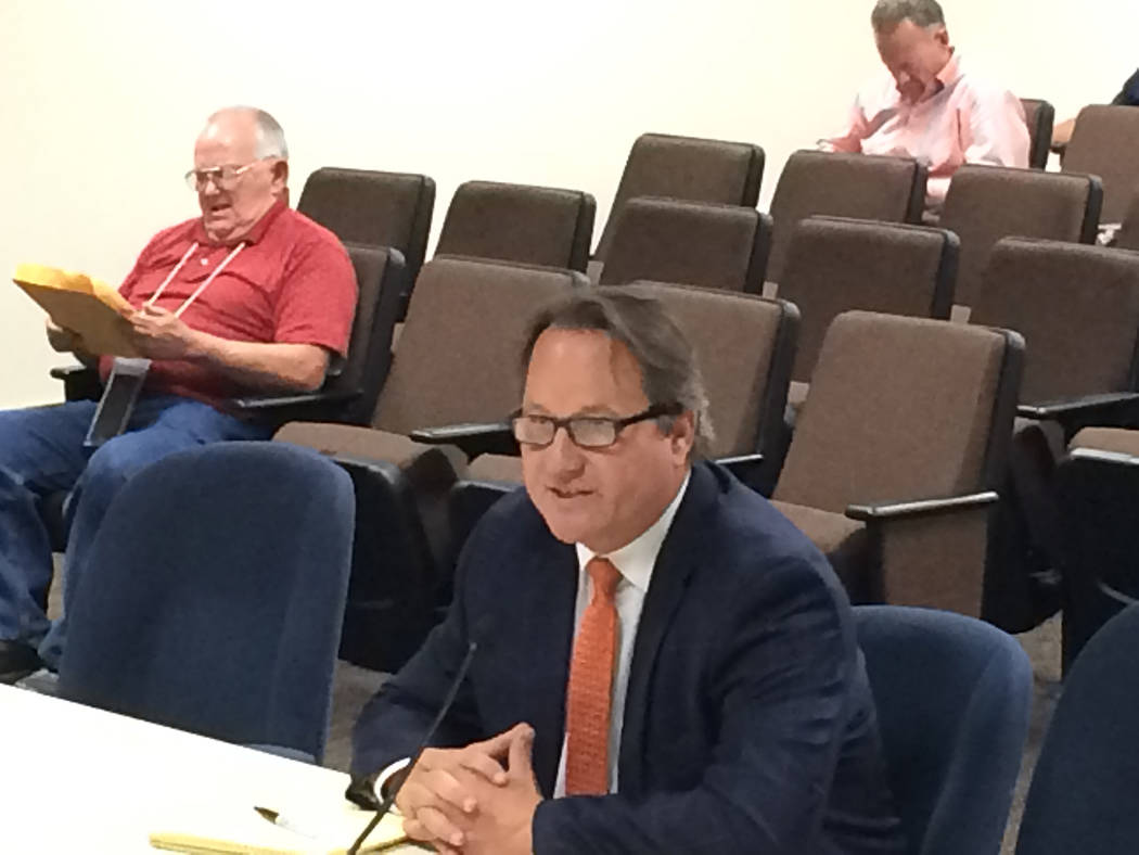 Robin Hebrock/Pahrump Valley Times Baron and Budd representative Archie Lamb appeared before the Nye County Commission on May 15 to give a presentation on the possible pursuit of litigation agains ...