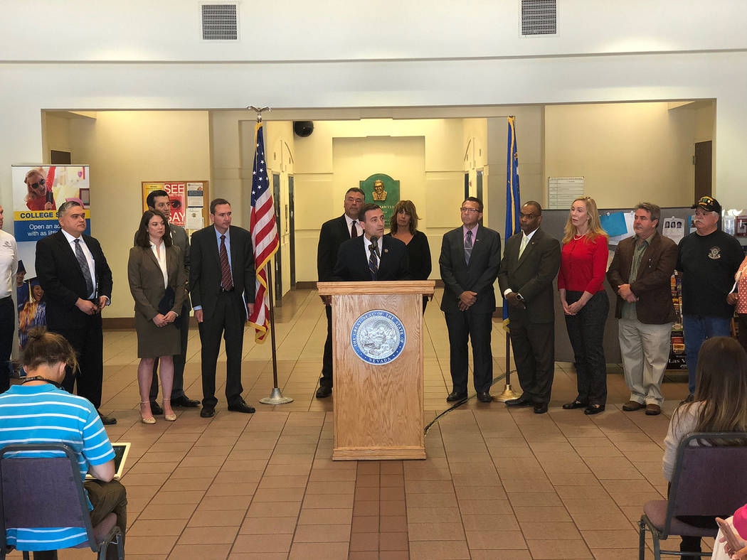 Special to the Pahrump Valley Times Nevada Attorney General Adam Laxalt announced the state's first lawsuit against an opioid manufacturer during a press conference on Tuesday, May 15. The state i ...