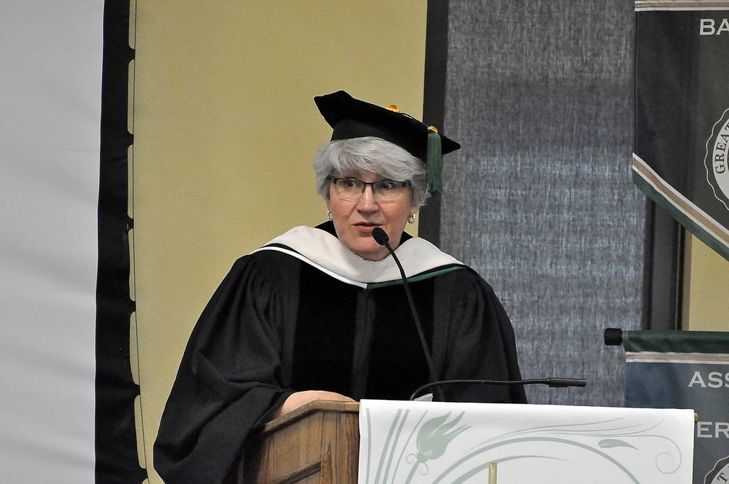 Horace Langford Jr./Pahrump Valley Times Great Basin College President Joyce Helens attended the ceremony in Pahrump on May 12. Here, she is seen speaking at the event.