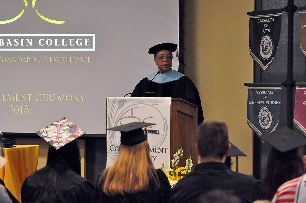 Horace Langford Jr./Pahrump Valley Times Dr. Tom Waters was the commencement speaker at the Great Basin College commencement ceremony on May 12 in Pahrump. In all, a total of 41 degrees and certi ...