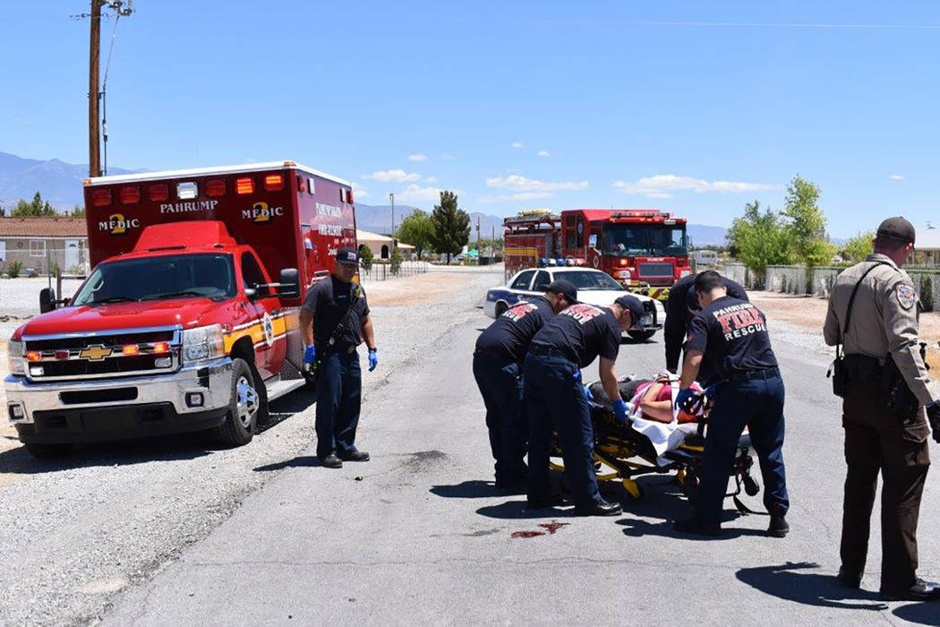 Special to the Pahrump Valley Times The rider of a quad was transported via Mercy Air to UMC Trauma after crashing the vehicle along the 1900 block of East Heritage Street on Tuesday May 15, at ap ...
