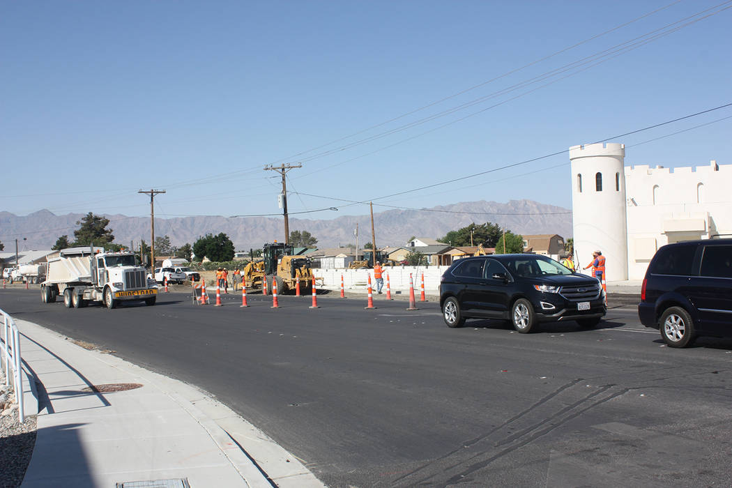 Robin Hebrock/Pahrump Valley Times A view of the road work being undertaken on May 17 at the corner of Hwy. 160 and Homestead Road.