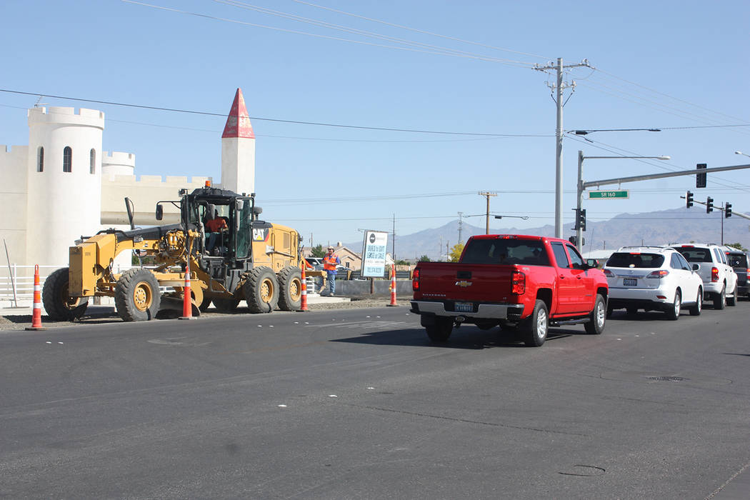 Robin Hebrock/Pahrump Valley Times This photo shows motorists waiting to execute a left-hand turn at the intersection of Hwy. 160 and Homestead Road, where a cone zone has sat for several months. ...