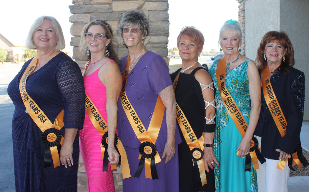 Robin Hebrock/Pahrump Valley Times The 2018 contestants for Ms. Senior Golden Years USA, from left to right, are Sharon Crisp, Mary McRory, Pamela Raneri, Autum Casterline, Jo Anna Sterley and Ter ...