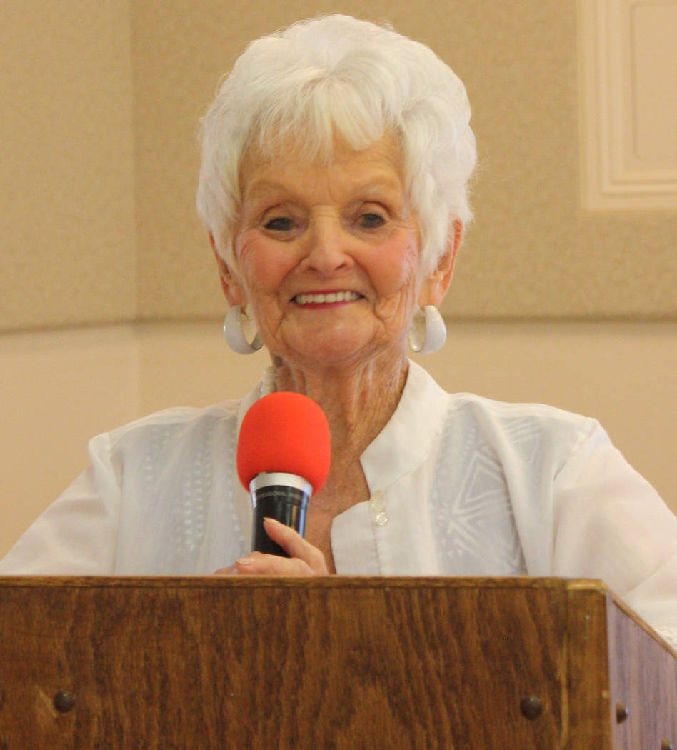 Robin Hebrock/Pahrump Valley Times Ms. Senior Golden Years USA Pageant founder B.J. Hetrick-Irwin is shown smiling for the crowd at the recent Ms. Senior Golden Years USA Pageant Meet and Greet, h ...