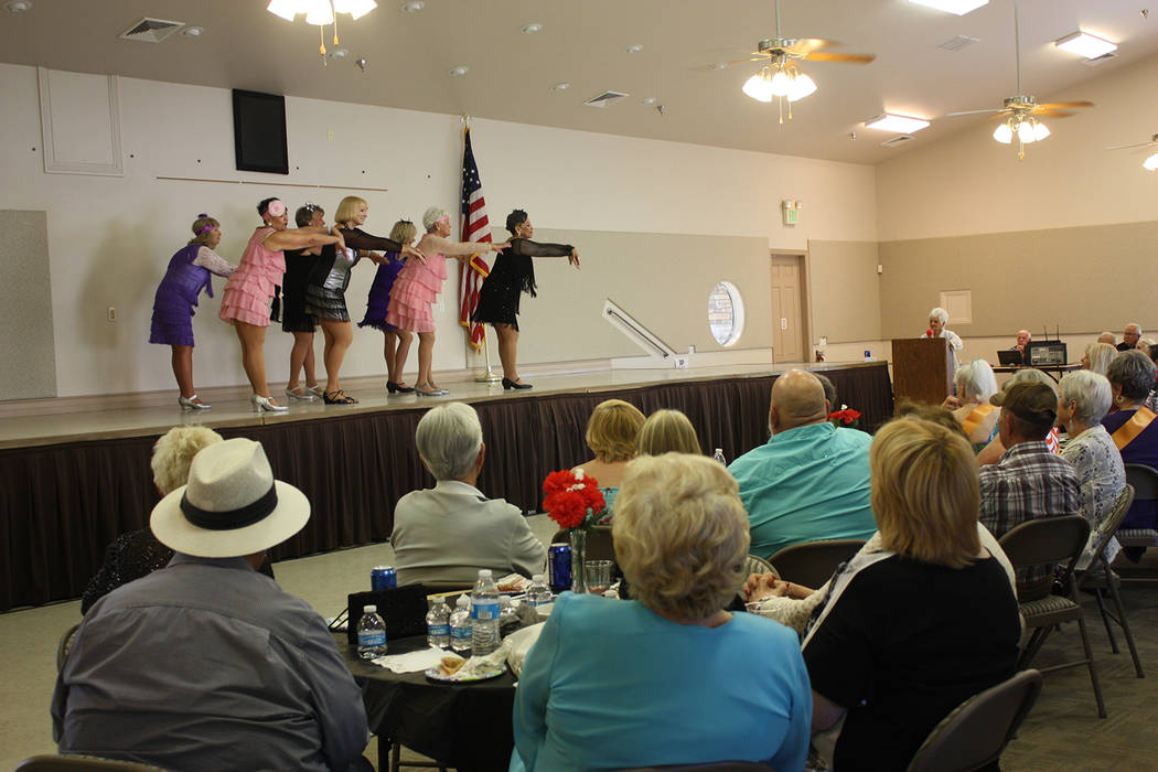 Robin Hebrock/Pahrump Valley Times The Nevada Silver Tappers are pictured performing for the large audience attending the Ms. Senior Golden Years USA Pageant Meet and Greet on May 18, proving that ...