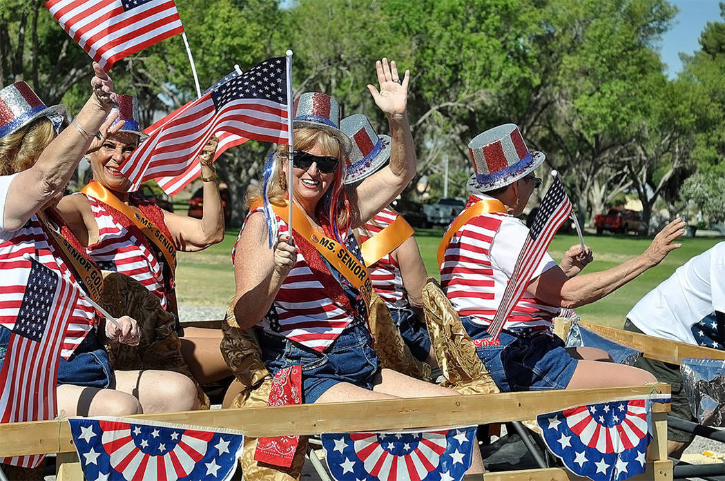 Horace Langford Jr./Pahrump Valley Times Contestants from Pahrump's Ms. Senior Golden Years show their respective patriotism during last year's Fourth of July Parade. The town was recently named t ...
