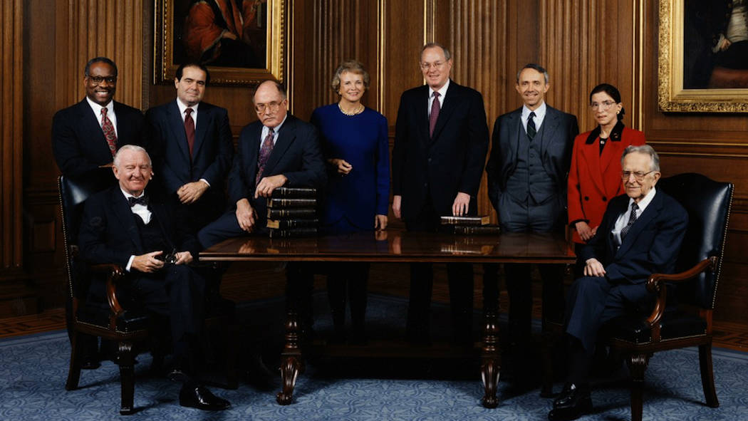 Photo courtesy of Magnolia Pictures The U.S. Supreme Court Justices in 1993 as shown in RBG, a Magnolia Pictures release. Justice Antonin Scalia is standing second from left. Justice Ruth Bader Gi ...
