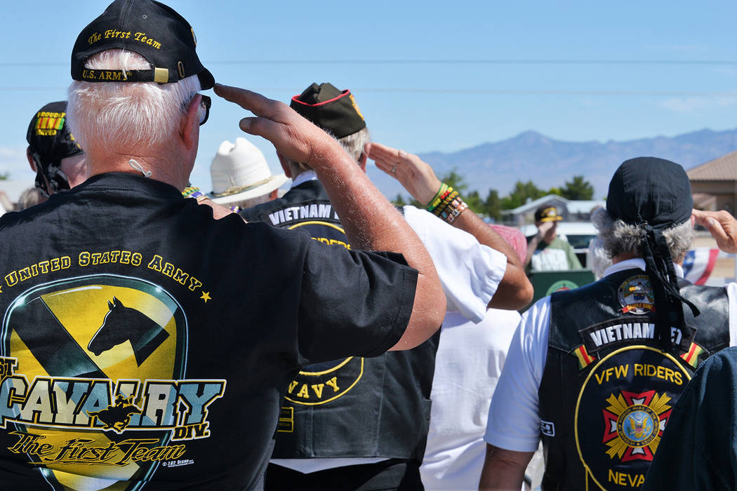 Selwyn Harris/Pahrump Valley Times Representatives from every armed services branch were in attendance at the G.G. Sweet Memorial Park on Monday, which marked the 18th annual observance of Memoria ...