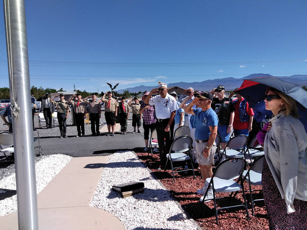 Selwyn Harris/Pahrump Valley Times More than two dozen members of the community turned out for the Memorial Day ceremony at G.G. Sweet Memorial Park on Monday. Many of which, were retired local ve ...