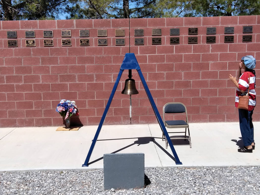 Selwyn Harris/Pahrump Valley Times Remembering those who sacrificed their lives during wartime remains the main significance of the bell toll, which rang incessantly throughout Monday's Memorial D ...