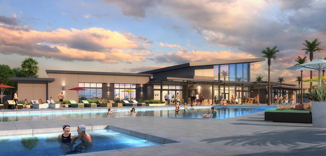 William Lyon Homes/Special to the Pahrump Valley Times Mountain Falls developer William Lyon Homes had its grand opening in April for the master-planned community's age-qualified development--Ovat ...