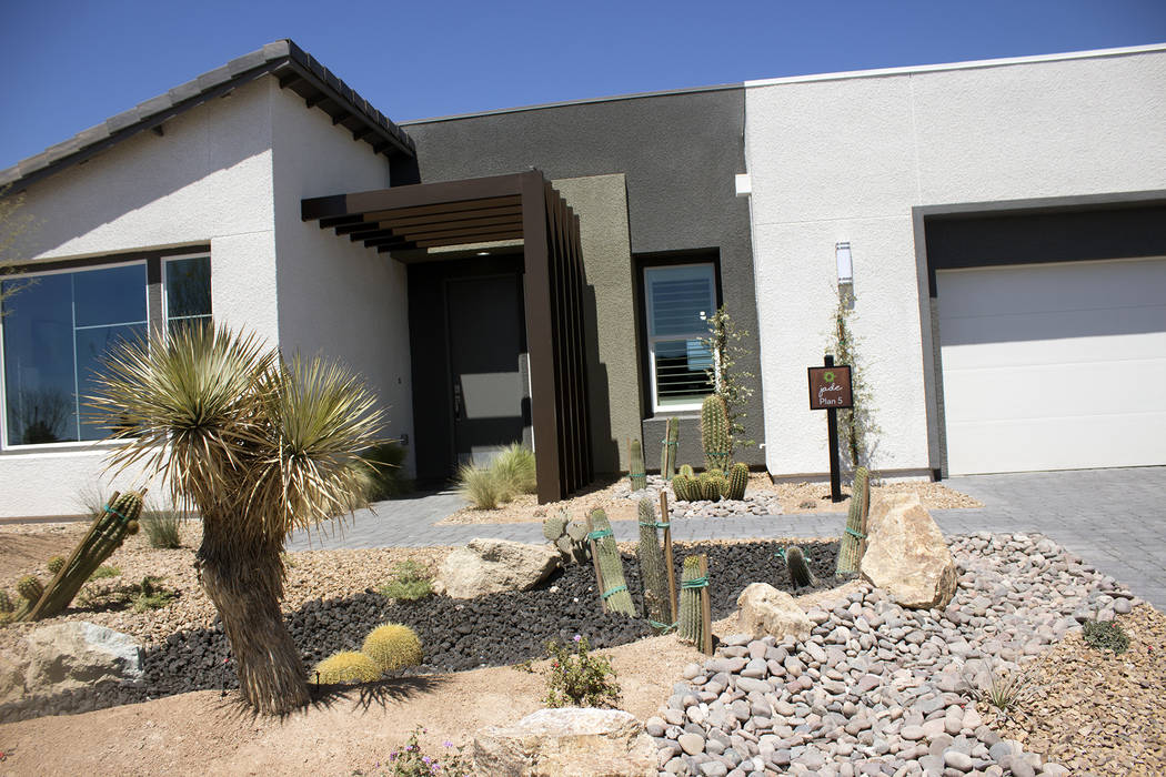 Jeffrey Meehan/Pahrump Valley Times William Lyon Homes has nine different floorplan options, under three home collections, in its 55 plus development Ovation. The model homes are on display adjace ...