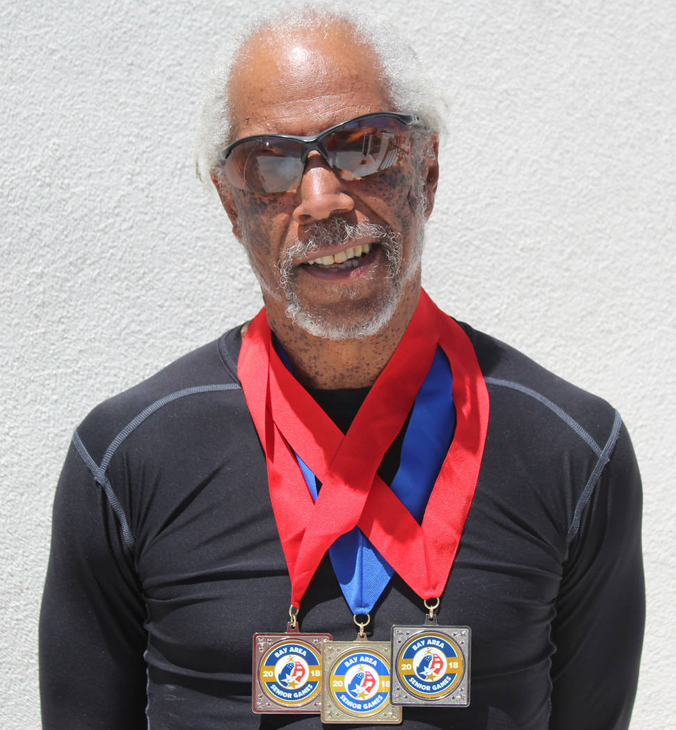 Tom Rysinski/Pahrump Valley Times Marvin Caperton set a personal best in the 50 meters on May 27 at the Bay Area Senior Games, winning the event in 7.08 seconds in San Mateo, California.