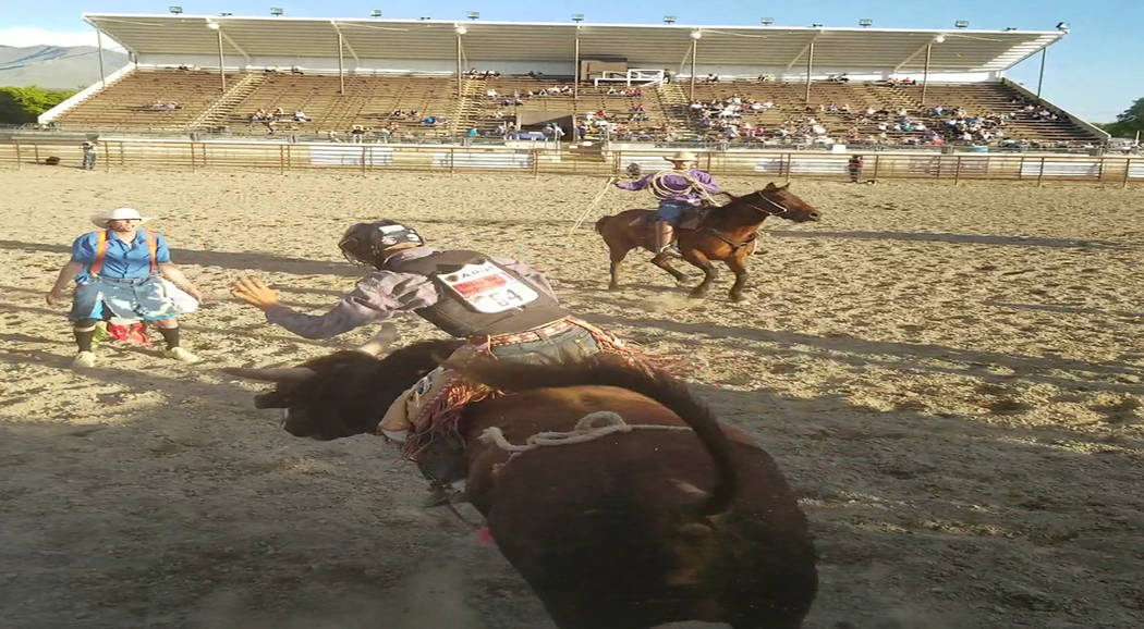 Buddy Krebs/Special to the Pahrump Valley Times Tye Hardy of Pahrump finished second in bull riding and third in saddle bronc riding after the Nevada High School Rodeo Association state finals, wh ...