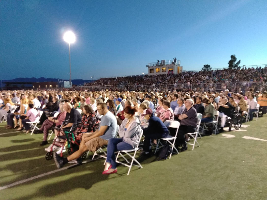 """Selwyn Harris/Pahrump Valley Times Hundreds of family and friends turned out for Friday's graduation ceremony at Pahrump Valley High School. School officials said the ceremony was a """"standing room ..."""