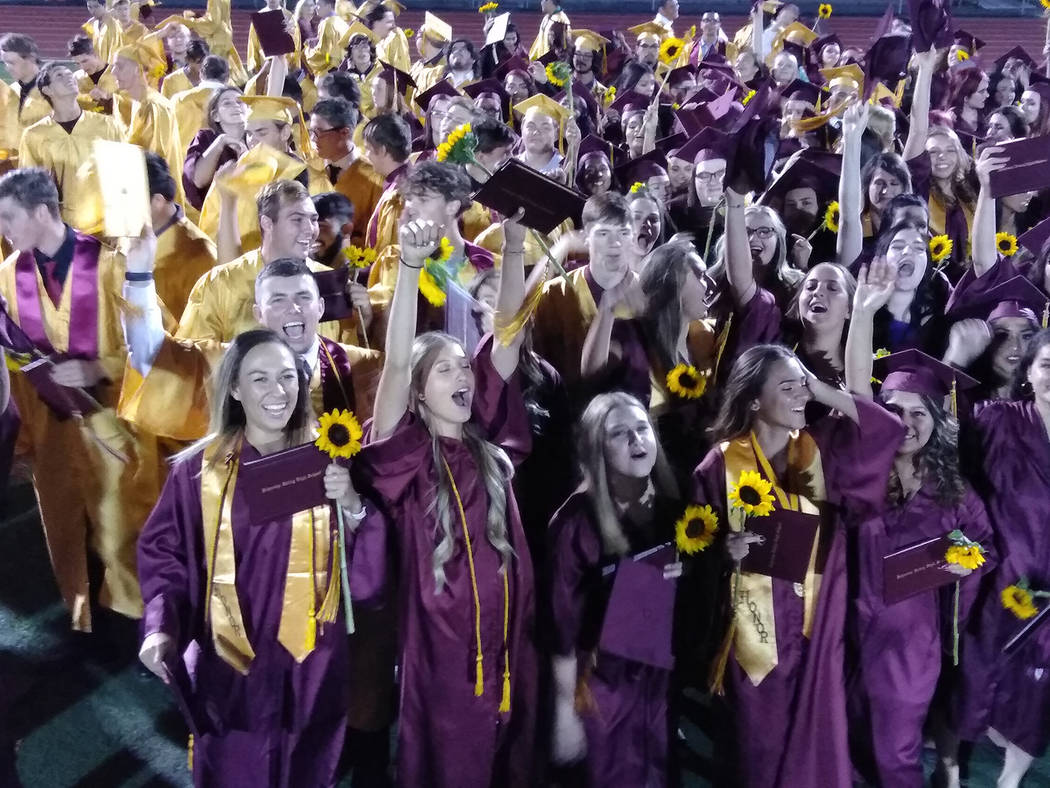 Selwyn Harris/Pahrump Valley Times A total of 236 Pahrump Valley High School seniors earned their diploma during the Friday May 25, graduation ceremony, but just 229 decided to make the walk, acco ...